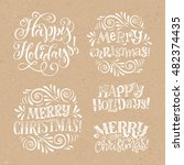 vector christmas set of... | Shutterstock .eps vector #482374435