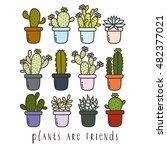 big set of cute cartoon cactus... | Shutterstock .eps vector #482377021