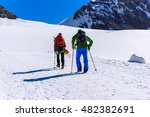 ice climbing on glacier in the... | Shutterstock . vector #482382691