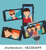 character selfie smartphone... | Shutterstock .eps vector #482383699