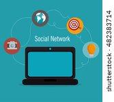 social media network globe... | Shutterstock .eps vector #482383714