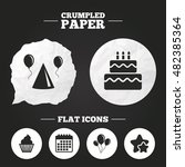 crumpled paper speech bubble.... | Shutterstock .eps vector #482385364