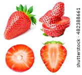 ripe strawberry set isolated on ... | Shutterstock . vector #482388661