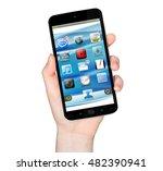 woman holding modern mobile... | Shutterstock . vector #482390941
