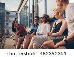 multiracial group of friends... | Shutterstock . vector #482392351