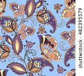 seamless oriental floral...   Shutterstock .eps vector #482395579