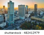 Small photo of Warsaw, Poland - August 27, 2016: Aerial panoramic view Warsaw downtown by sunset, from the top Palace of Culture and Science, Warsaw, Poland. Polish: Palac Kultury i Nauki, also abbreviated PKiN.