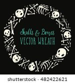 spooky skulls and bones circle... | Shutterstock .eps vector #482422621