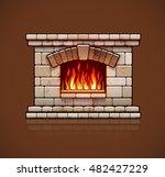stone bricks home fireplace.... | Shutterstock .eps vector #482427229