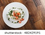 olivier salad with trout in a... | Shutterstock . vector #482429191