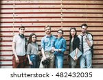 group portrait of a smiling... | Shutterstock . vector #482432035