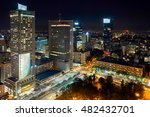 Small photo of Warsaw, Poland - August 27, 2016: Aerial panoramic view Warsaw downtown by night, from the top Palace of Culture and Science, Warsaw, Poland. Polish: Palac Kultury i Nauki, also abbreviated PKiN.