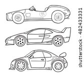 vector doodle old and new cars... | Shutterstock .eps vector #482433331