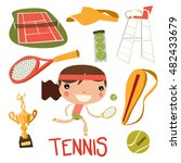 cute tennis kid set. girl... | Shutterstock .eps vector #482433679
