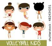 cute volleyball kids set.... | Shutterstock .eps vector #482434351
