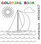 coloring page with yacht  sea ... | Shutterstock .eps vector #482436517