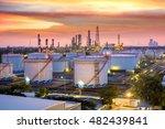 oil refinery at sunset  ... | Shutterstock . vector #482439841