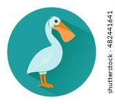 pelican in flat style. icon.... | Shutterstock .eps vector #482441641