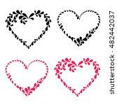 set of decorative hearts. set...   Shutterstock .eps vector #482442037