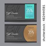 set of black gift vouchers in... | Shutterstock .eps vector #482444581