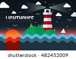 the lighthouse on island at... | Shutterstock .eps vector #482452009