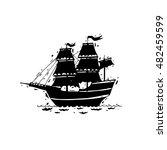 happy columbus day. ship. black ... | Shutterstock .eps vector #482459599