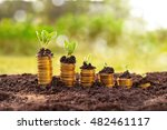 rising coin stack with growing... | Shutterstock . vector #482461117