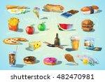 vector set of polygonal food... | Shutterstock .eps vector #482470981