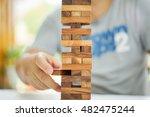 closeup of wood blocks stack... | Shutterstock . vector #482475244
