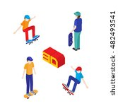 teenagers skateboard. vector... | Shutterstock .eps vector #482493541