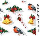 seamless watercolor christmas... | Shutterstock . vector #482499145