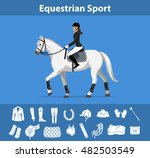 woman riding horse in show... | Shutterstock .eps vector #482503549