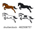 Stock vector jumping horses set in color contour and silhouette 482508757