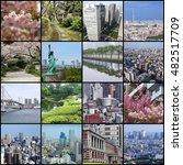 Small photo of Photo collage from Tokyo, Japan. Collage includes major landmarks like Rainbow Bridge, Toshima ward, Chiyoda ward and Chuo ward.