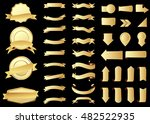 ribbon vector icon gold color... | Shutterstock .eps vector #482522935