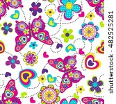 vector seamless geometric cute... | Shutterstock .eps vector #482525281