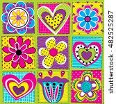 vector seamless geometric cute...   Shutterstock .eps vector #482525287