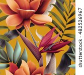 seamless tropical flower  plant ... | Shutterstock . vector #482526967