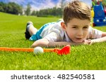 little boy golfer with his... | Shutterstock . vector #482540581