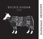 cow butcher diagram on black... | Shutterstock .eps vector #482542495