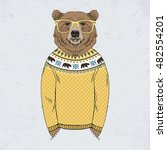 bear dressed up in jacquard... | Shutterstock .eps vector #482554201
