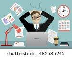 stress at work concept flat... | Shutterstock .eps vector #482585245