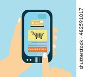 pay per click on mobil phone... | Shutterstock .eps vector #482591017