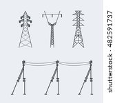 high voltage electric line... | Shutterstock .eps vector #482591737