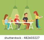 people in fast food restaurant | Shutterstock .eps vector #482603227