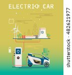 vector image. mini electric car ... | Shutterstock .eps vector #482621977