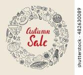 autumn harvest garden farm food ... | Shutterstock .eps vector #482630089
