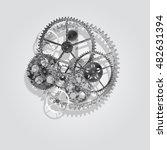 steel gears on a white... | Shutterstock .eps vector #482631394