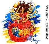 illustration of goddess durga... | Shutterstock .eps vector #482645521