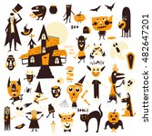 vector set of icons and... | Shutterstock .eps vector #482647201